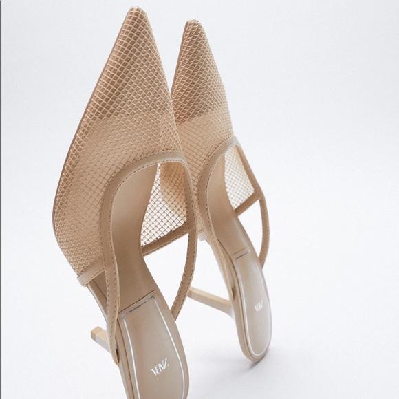 NWT. Zara Tan Heeled Mesh Sandals. Size 8.